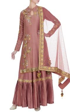RAR Studio Pink chanderi embroidered kurta with sharara & dupatta