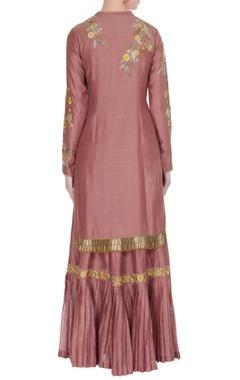 Pink chanderi embroidered kurta with sharara & dupatta
