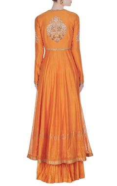 Saffron orange flared kurta set