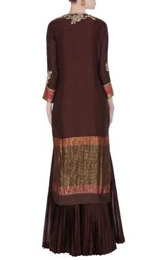 Dark brown chanderi kurta set