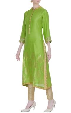 RAR Studio Green chanderi woven bird buta embroidered knee-length kurta