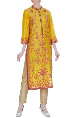 RAR Studio Yellow chanderi ari & hand embroidered knee-length kurta