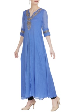 Blue mulmul double layered kurta