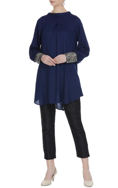 Navy blue tunic with sequin sleeves