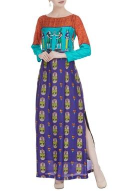 Multicolored egyptian printed maxi dress