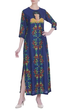 Blue pharaoh printed cotton silk maxi dress
