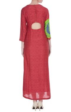 Pink & green egyptian printed maxi dress