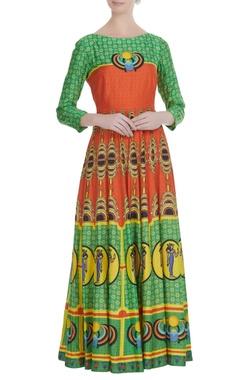 Green & orange cotton silk printed kalidar kurta