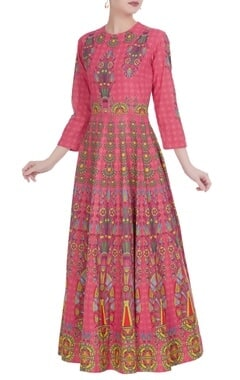Pink khadi cotton maxi pleated kalidar kurta