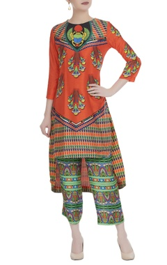 Multicolored printed high-low kurta with cropped pants