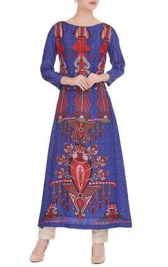 Blue & red egyptian printed kurta