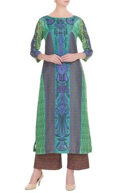 Blue & green printed kurta with pants