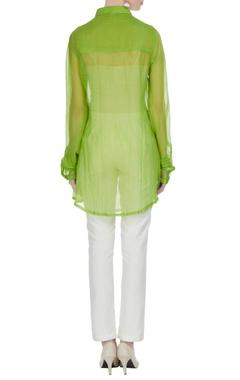 Lime green mirror work sheer shirt tunic