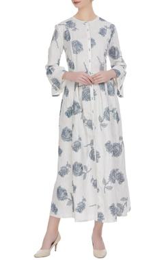 White printed maxi dress