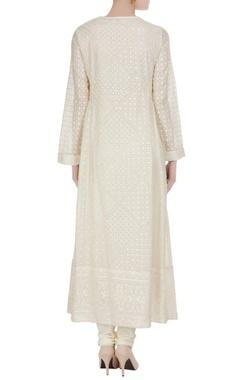 Ivory embroidered long kurta set