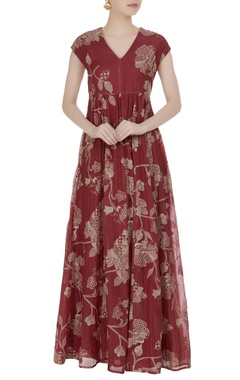 Muddy red thread embroidered maxi dress
