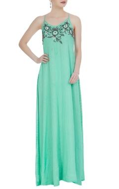 Green halter style spaghetti strap dress