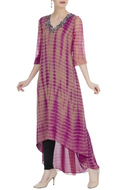 Purple & blush pink tie-dye kurta