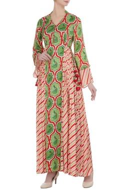 Punit Balana Red & green printed satin maxi dress