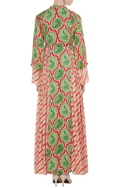 Red & green printed satin maxi dress
