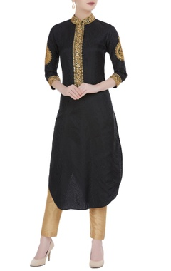 Black dori work silk long tunic