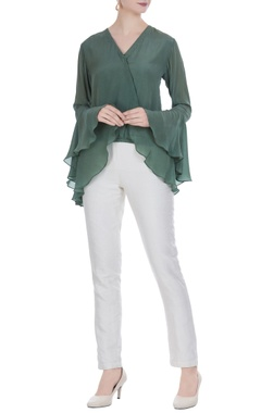 Olive green crepe wrap blouse