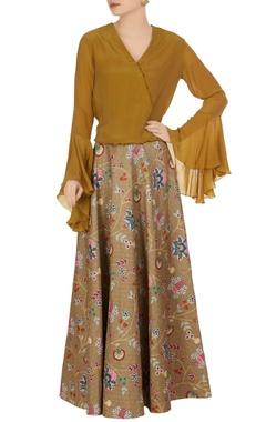 Brown wrap style crepe silk blouse