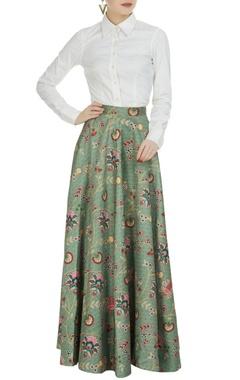Siddhartha Bansal Olive green dupion printed long skirt