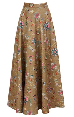 Multicolored chintz floral printed dupion silk maxi skirt