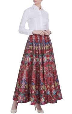 Siddhartha Bansal Red chintz flared long skirt