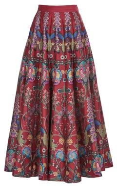 Red chintz flared long skirt