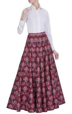 Siddhartha Bansal Red embellished flared long skirt