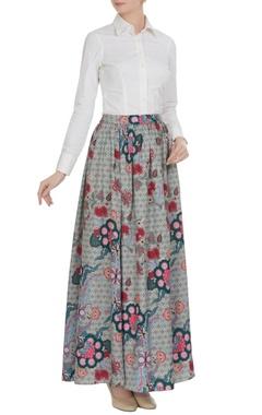 Siddhartha Bansal Grey chintz flared long skirt