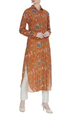 Light brown crepe printed long tunic