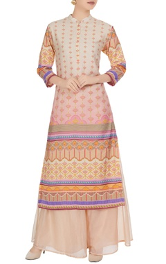 Multicolored printed chanderi kurta with palazzos
