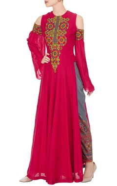 Neeta Lulla Coral silk kutchi embroidered kurta with pale grey embroidered pants