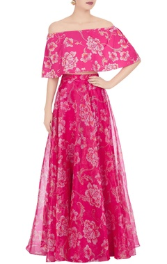 Pink crepe & organza floral printed lehenga with cape