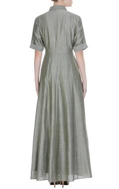 Metallic grey khadi maxi dress