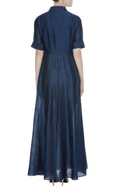 Navy blue khadi embroidered maxi dress