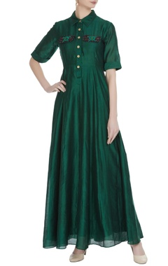 Dark green khadi embroidered maxi dress