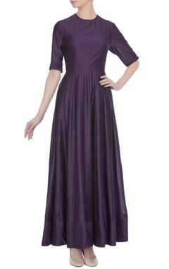 Purple chanderi silk pleated maxi dress