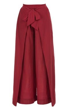 Flap layer tie-up pants