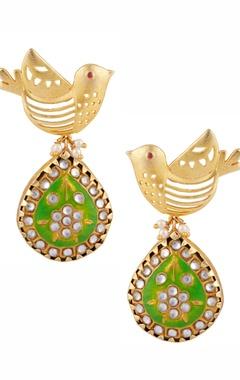 Masaya Jewellery Meenakari bird motif earrings