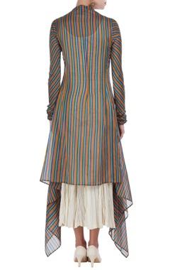 Hand-woven chanderi silk stripe tunic with inner