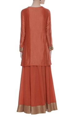 Short embroidered kurta with palazzo and dupatta
