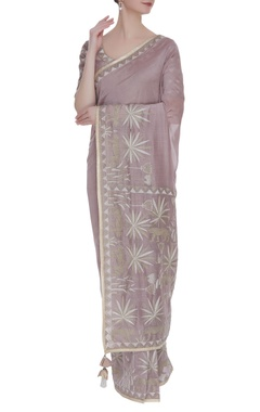 RAR Studio Grey embroidered sari with blouse