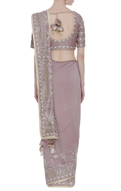 Grey embroidered sari with blouse