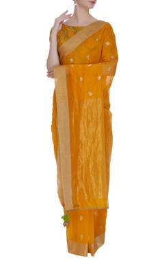 RAR Studio Orange & yellow embroidered sari with blouse