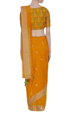 Orange & yellow embroidered sari with blouse