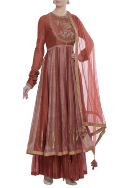 RAR Studio Chanderi cut dana embroidered kurta set with pleated skirt
